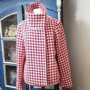 Talbots wool blend short houndstooth jacket